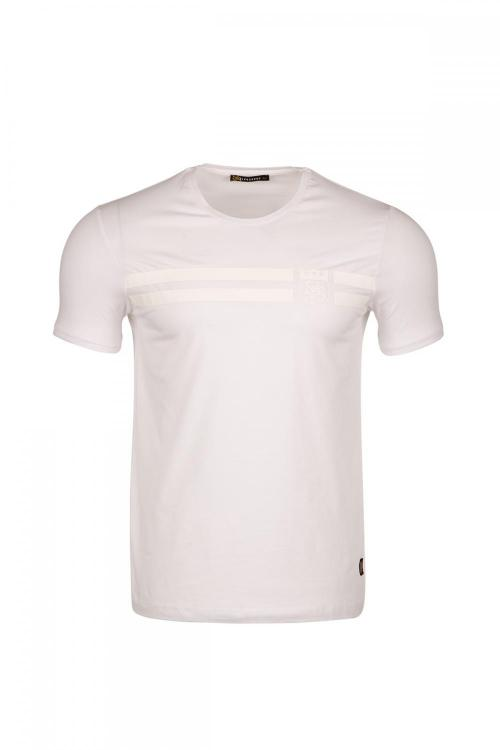 Bisiklet Yakalı Önü Çizgi Arma Baskılı T-shirt