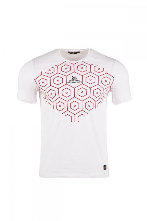 Bisiklet Yakalı Önü Petek Baskılı T-shirt
